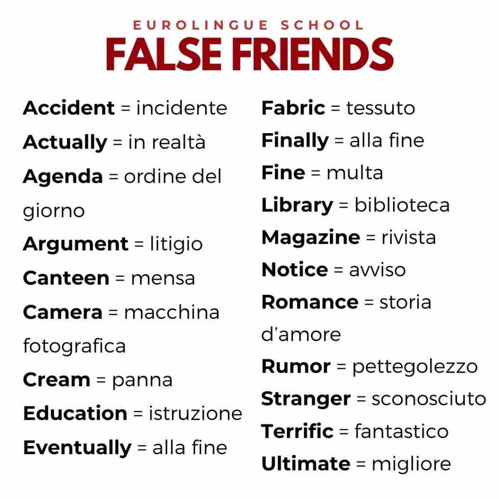 falsi amici in inglese